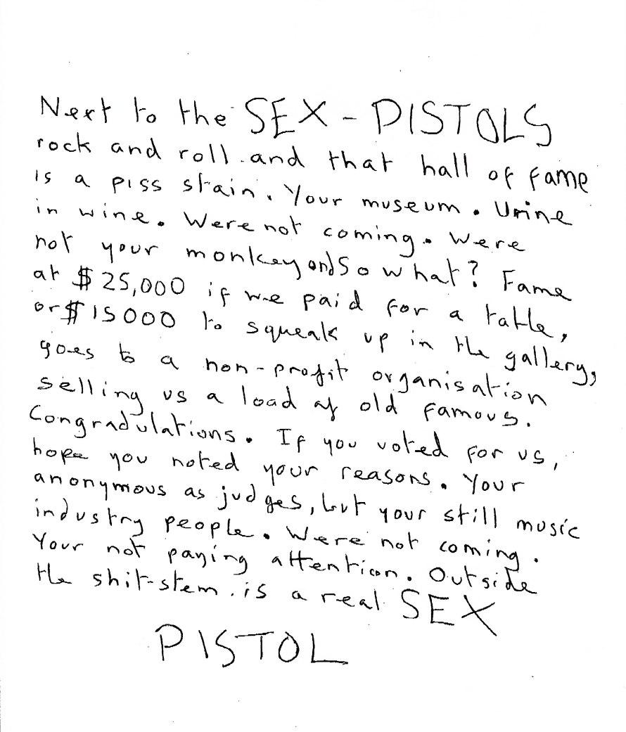 Sex Pistols Rock Hall of Fame Letter