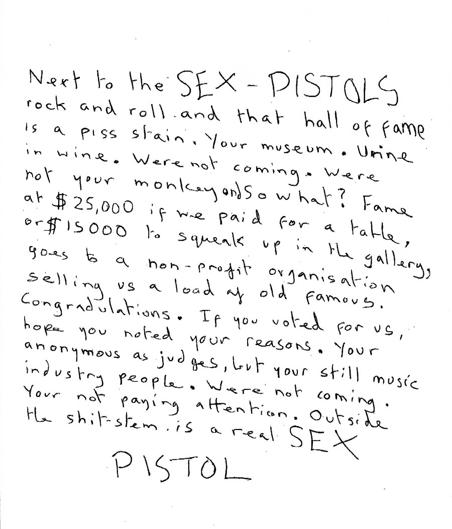 Sex Pistols Rock Hall of Fame Letter